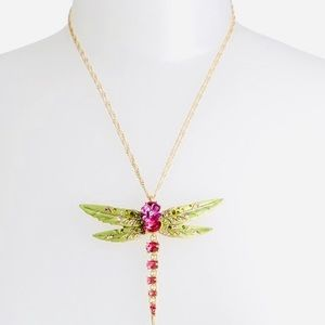 New OPULENT FLORAL DRAGONFLY NECKLACE PINK